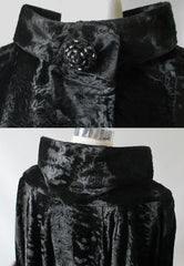 Vintage Black Velvet Fox Fur Evening Swing Coat collar