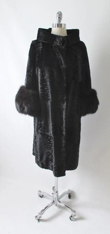 Vintage Black Velvet Fox Fur Evening Swing Coat M  L