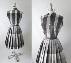 Vintage 50's Black White Grey Plaid Blouse Skirt Set S - Bombshell Bettys Vintage