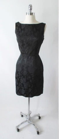 Vintage 50's Black Roses Classic Damask Dress Sheath Evening Party Dress S