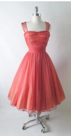 Vintage 50's Coral Chiffon Full Skirt Party Dress S