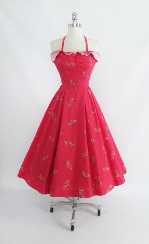 • Vintage 50's Watermellon Pink and Gold Petal Bust Full Swing Skirt Hawaiian Dress XS S - Bombshell Bettys Vintage