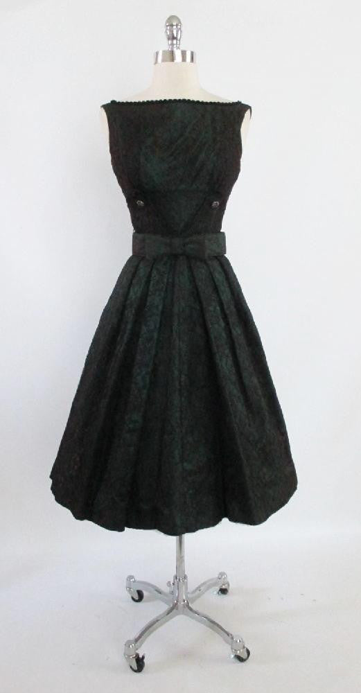 f932e6c9f7d13 Vintage 50's Emerald Green Red Lace Swing Skirt Party Dress XS ...