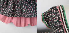 • Vintage 50's Pink Floral Calico Roses Full Skirt Festival Dress S - Bombshell Bettys Vintage