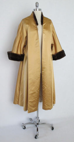 Vintage 50's Mink Trimmed Gold Brocade Evening Swing Jacket Coat One Size