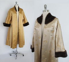 Vintage 50's Mink Trimmed Gold Brocade Evening Swing Jacket Coat One Size - Bombshell Bettys Vintage
