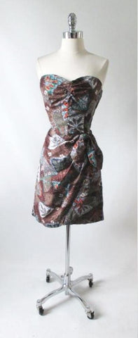 Vintage 50's Hawaiian Tribal Leaf Sarong Dress M