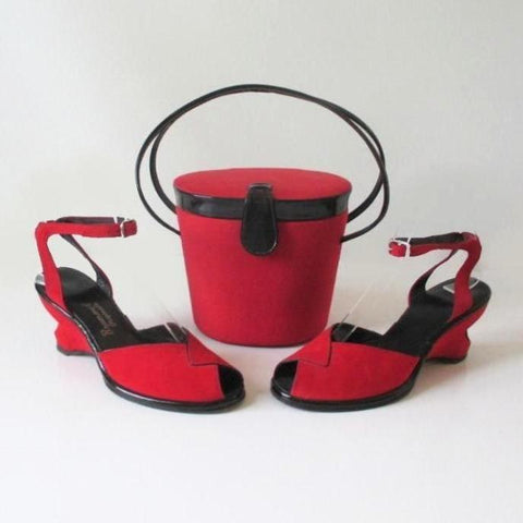 Vintage 50's Red Atomic Wedge Heels & Matching Bucket Bag Purse 6.5