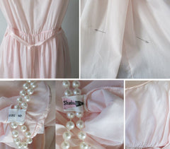 Vintage 50's Pink Full Skirt Night Gown Nighty Dress L - Bombshell Bettys Vintage