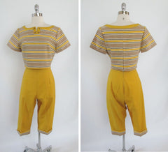 • Vintage 50's 60's Beatnik Crop Top Clam Digger Capri Pants Set - Bombshell Bettys Vintage