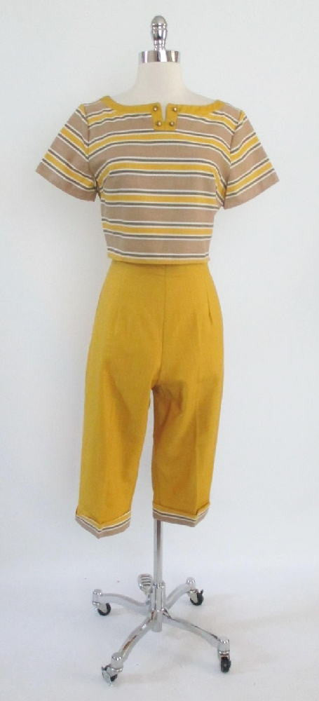 vintage 50's beatnik top high waist clam digger capri pants set gallery