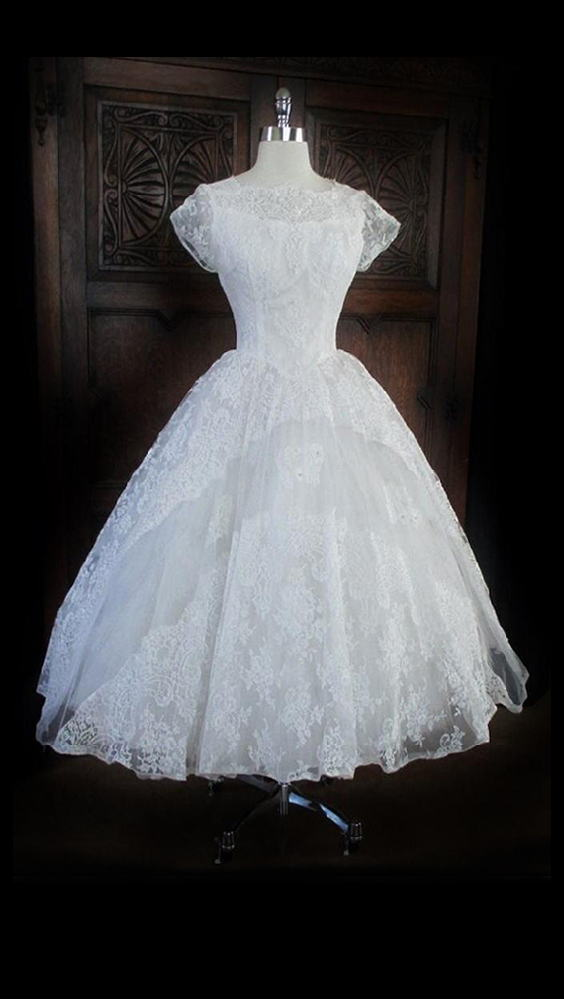 Vintage 50 White Illusion Lace Beaded Full Skirt Wedding Gown XS - Bombshell Bettys Vintage