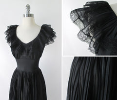 Vintage 50's Sheer Black Ruffled Nighty Nightgown M - Bombshell Bettys Vintage