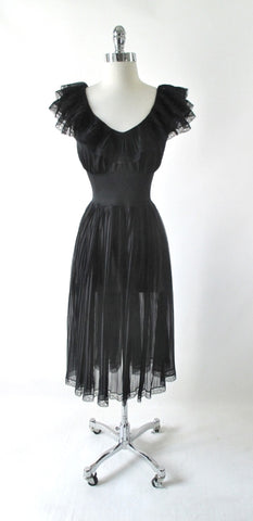 Vintage 50's Sheer Black Ruffled Nighty Nightgown M