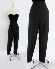 • Vintage 50's  Black Silver Lamé / Lurex Chromespun Sparkle High Waisted Cigarette Pants M - Bombshell Bettys Vintage