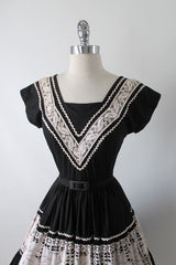 Vintage 50's Two Smart Girls Miami Black Lace Full Skirt Patio Dress XS - Bombshell Bettys Vintage