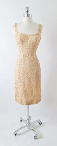 Vintage 50's Ecru Natural Lace Sheath Wiggle Special Occasion Dress S