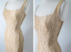 Vintage 50's Ecru Natural Lace Sheath Wiggle Special Occasion Dress S - Bombshell Bettys Vintage