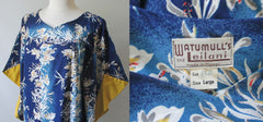 Vintage 50's Hawaiian Batwing Sleeve Mumu Dress Gown - Bombshell Bettys Vintage