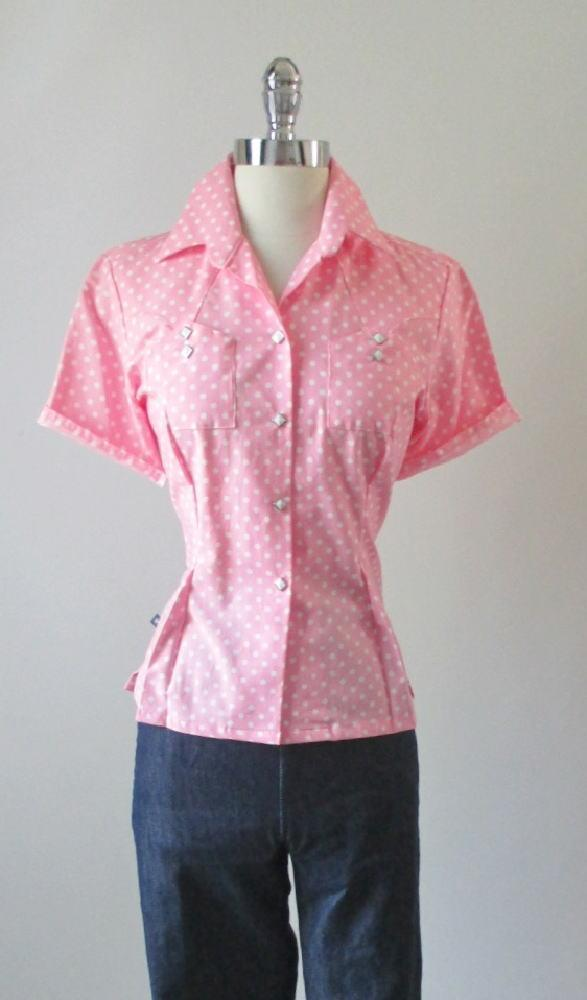8f643d68ff5c06 Vintage 50's Style Rockmount Ranchwear Pink White Polka Dot Western Shirt  Blouse Top M - Bombshell