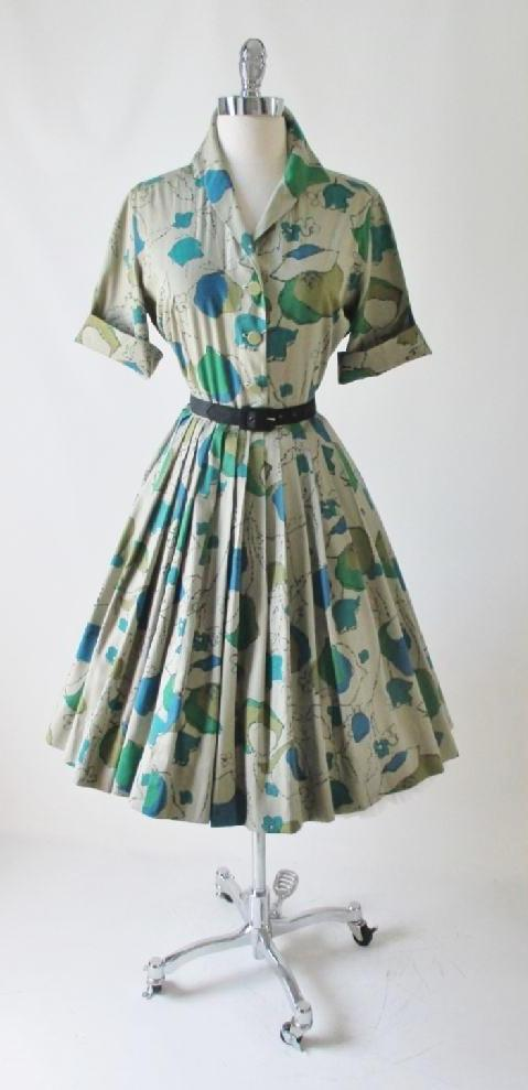 • Vintage 50's 60's Tan Blue Teal Floral Full Skirt Shirtwaist Day Dress L - Bombshell Bettys Vintage