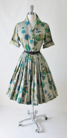 • Vintage 50's 60's Tan Blue Teal Floral Full Skirt Shirtwaist Day Dress L