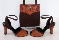 Vintage 50's Tooled Leather Brown Suede Peep Toe Heels Matching Handbag Purse 8 - Bombshell Bettys Vintage