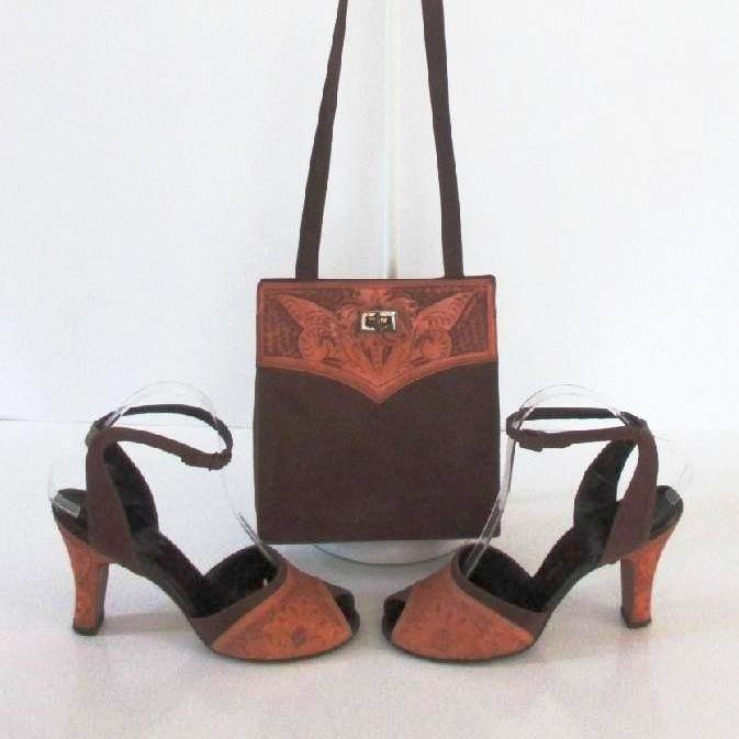 • Vintage 50's Tooled Leather Brown Suede Peep Toe Heels Matching Handbag Purse 8 - Bombshell Bettys Vintage