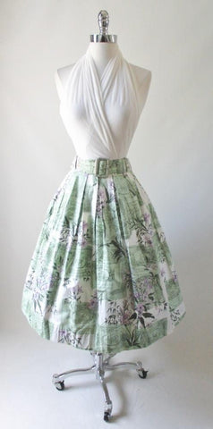 Vintage 50's Zodiac Horoscope Flower Print Full Swing Skirt L