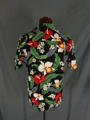 Vintage Aloha Republic Black Tropical Floral Print Hawaiian Shirt - Large - Bombshell Bettys Vintage
