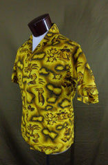 Vintage Prince Kuhio Yellow Hibiscus Hula Girl Tiki Hawaiian Shirt - Medium - Bombshell Bettys Vintage