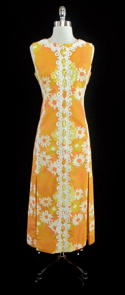 7881c54831c Vintage 60 s Lilly Pulitzer The Lilly Floral Daisy Maxi Dress L - Bombshell  Bettys Vintage