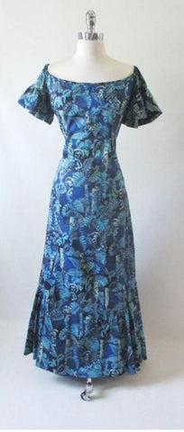 Vintage 50's Alfred Shaheen Tiki God  Mermaid Dress Gown Rare Print L