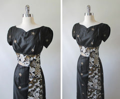 Vintage 60's / 50's Hand Painted Gold Flower Obi Sash Hawaiian Dress Full Length Gown - Bombshell Bettys Vintage