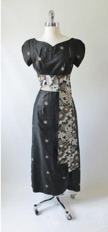 Vintage 60's / 50's Hand Painted Gold Flower Obi Sash Hawaiian Dress Full Length Gown