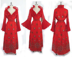 Vintage 60's / 70's  Alfred Shaheen Red Hawaiian Cocktail Gown New With Tags L - Bombshell Bettys Vintage