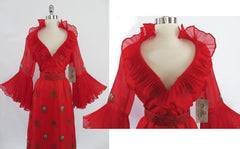 • Vintage 60's Alfred Shaheen Red Hawaiian Cocktail Gown / New With Tags L - Bombshell Bettys Vintage