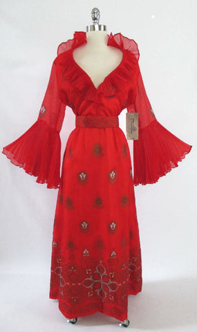 Vintage 60's / 70's  Alfred Shaheen Red Hawaiian Cocktail Gown New With Tags L