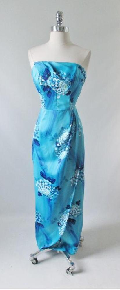 05f953014a2 vintage 60 s 50 s style Paradise Hawaii blue hawaiian full length sarong  dress evening gown strapless gallery