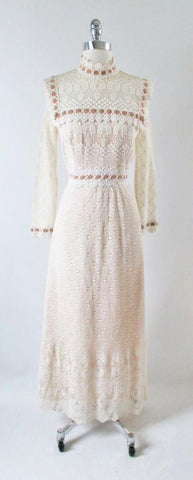 Vintage 60's Off White Crochet Lace Dress Velvet Trim Maxi Dress S