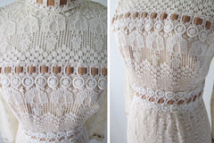 Vintage 60's Off White Crochet Lace Dress Velvet Trim Maxi Dress S - Bombshell Bettys Vintage