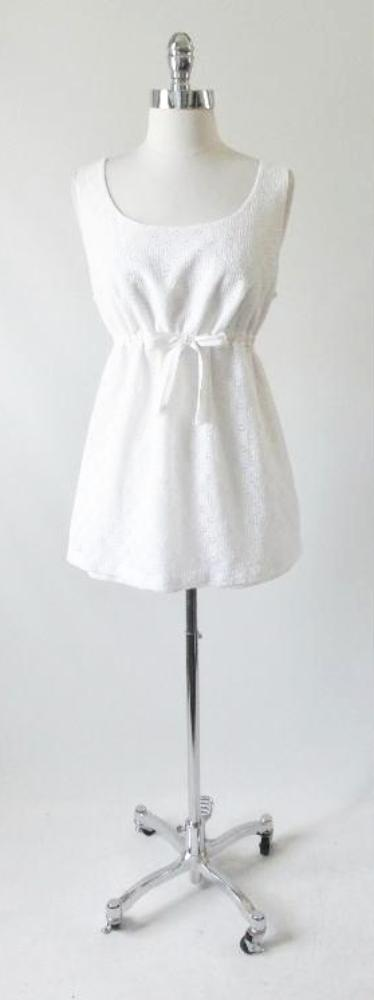 Vintage 60's 70's White Eyelet Maternity Playsuit Swimsuit 2 Piece Top Bloomer Set - Bombshell Bettys Vintage