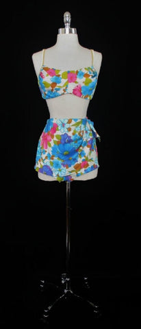 Vintage 60's Bombshell DeWeese Floral Sarong Bullet Bust Bikini L