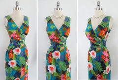 • Vintage 60's Kamehameha Man-Killer Hawaiian Evening Gown Wiggle Dress XS - Bombshell Bettys Vintage