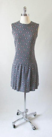 Vintage 60's Polka Dot LOVE Dress Op Art Tennis Mini Skirt GoGo Skorts Shorts M