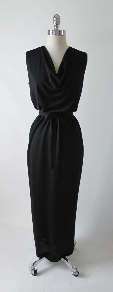 Vintage 60's Black Full Length Grecian Column Cocktail Dress Evening Gown - Bombshell Bettys Vintage