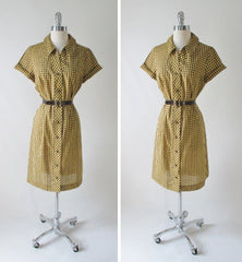 Vintage Early 60's Brown Yellow Gingham Plaid Shirt Button Day Dress & Belt M - Bombshell Bettys Vintage