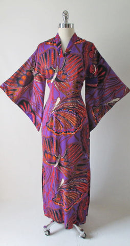 Vintage 60's Madame Butterfly Print Batwing Kimono Tunic Dress Gown
