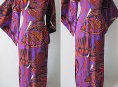 Vintage 60's Madame Butterfly Print Batwing Kimono Tunic Dress Gown - Bombshell Bettys Vintage