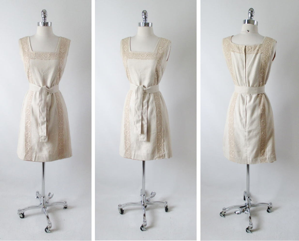 4960bb9820 60 s vintage linen natural tweed crochet lace shift day dress full